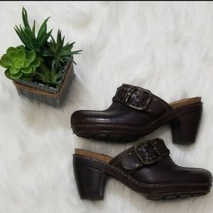 Frye Candice Brown Leather Woven Clogs, Size 6M